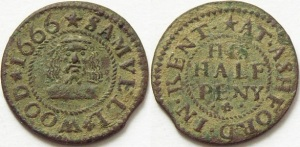 17th C trade farthing - Samuell Wood's Ashford (Kent) halfpenny token dated 1666