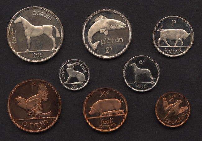 The 1928 Irish coin set, designed by Percy Metcalfe.