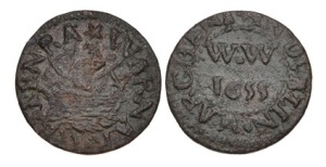 Dublin. Warner Westenra, merchant. copper Penny Token. Dated 1655. Williamson 412