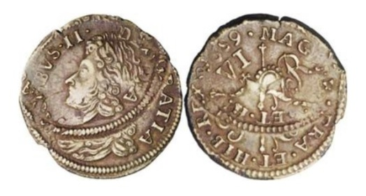 A spectacular mis-strike of the James II gunmoney sixpence – November 1689, KM93, VF, far off-center double strike