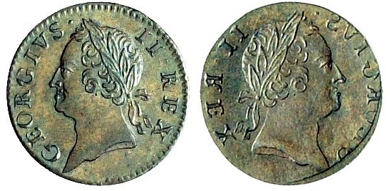 1760 George II, Farthing (DF 563, S 6611), obverse brockage, extremely fine and patinated, rare and unusual