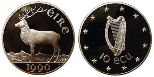 1990 Ireland 10 ecu Proof