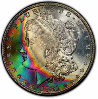 Rainbow toning on an American Morgan dollar coin