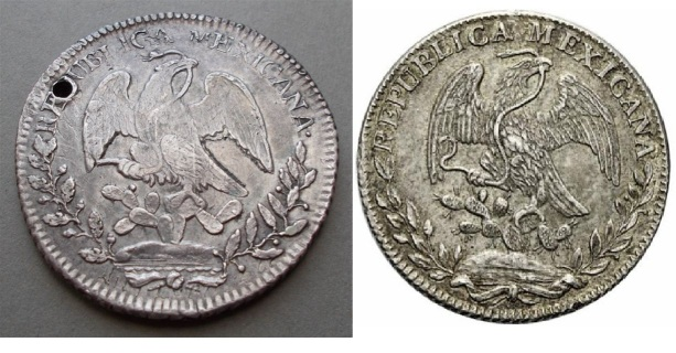 Cast counterfeit (on left) and genuine coin (to the right) of Mexica 8 reales coin 1834. The discrepancies are almost too numerous to mention.