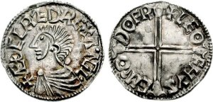 Anglo-Saxon coin - Aethelred II. 978-1016. AR Penny (1.56 g, 3h). Long cross type. Dover mint; Leofhyse, moneyer. Struck circa 997-1003