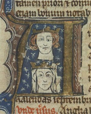 Early fourteenth-century manuscript initial showing Edward and his wife Eleanor. The artist has perhaps tried to depict Edward's blepharoptosis, a trait he inherited from his father