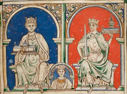 Henry II is shown above left, Henry the Younger is shown center bottom, and Richard I, the Lionheart, is on the right.