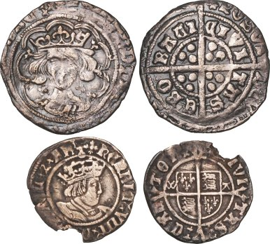 Henry VIII second issue Halfgroat, Archbishop Warham issue of Canterbury, mm Cross Patonce (S2012, 2343) the first clipped VG, the second with ...