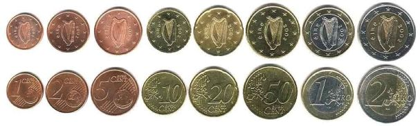 Modern Irish coins are instantly recognisable by their common obverse 'harp' designs.
