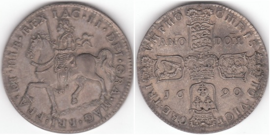 James II 1685-1691, Irish Gunmoney Crown 1690 in Silver S6585 (Unpriced Extremely Rare)