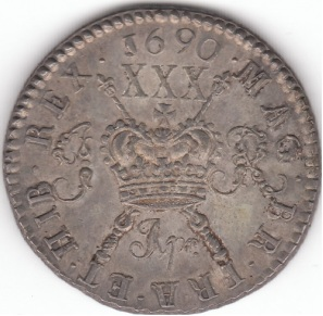 James II 1685-1691, Irish Gunmoney Large Halfcrown 1690 Apr in Silver S6579NN (Unpriced Extremely Rare)