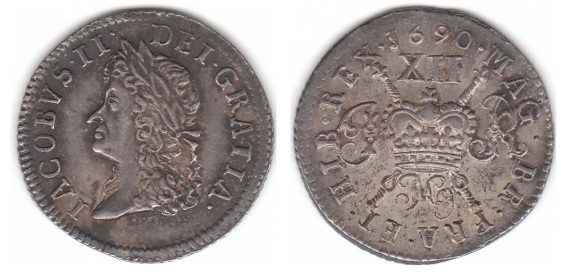 James II 1685-1691, Irish Gunmoney Small Shilling 1690 May in Silver