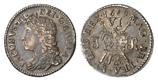 James II 1685-1691, Irish Gunmoney Small Six Pence 1689 Feb in Silver
