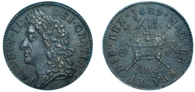 James II, Gunmoney coinage, Shilling, 1689 Augt. (S 6581C)