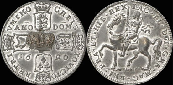 James II gunmoney (proof) crown in pewter