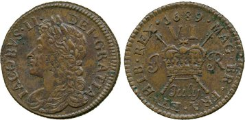 James II Ireland Irish gunmoney coin