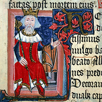 King Henry III of England, c. 1350-1400. A page of illustrated Latin text showing King Henry III holding out his arm on which he carries a garment. From the Chronicle of St.Albans by Thomas Walsingham. Cott.Nero.D.VII.fol.6