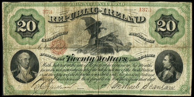 Republic of Ireland, National Bond, Twenty Dollars, 1867, The Old Currency Exchange is Ireland's leading retailer for collectible banknotes, coins and tokens. best good shop for Irish coins and banknotes, Dublin, Ireland