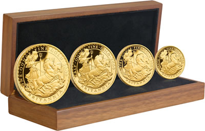 The four-coin set: £100, £50, £25 and £10 gold Proof coin, with a product issue limit of 1,250 and priced at £2,050