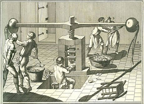 Screw press operation. Forstriking coins, blanks had to be ready in quantity. Three or five men operated a screw press. One was the coin setter, he removed the struck piece and inserted the next blank. Two or four men were spinners, they operated the balance arm, swinging it back and forth. Lead weights were added to the balance arm to give it more strength about 1740