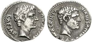 Roman coin - Denarius of Augustus with Agrippa 27 BC - 14 AD - minted in Rome by Caius Sulpicius Platorinus, moneyer. On the left is Augustus bare head with inscription CAESAR AVGVSTVS and Agrippa's head on the right with M - AGRIPPA PLATORINVS - III - VIR