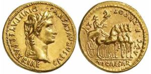 roman coin gold aureus, minted in Rome between 13-14 AD. Laureate head of Augustus is on the left with the inscription