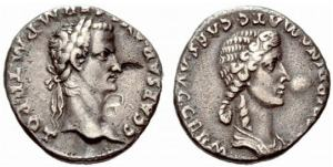 "roman coin caligula - The laureate head of Caligula is shown on the left with emblem ""C CAESAR AVG GERM P M TR POT"". Agrippina (the elder) with her braided hair is on the right with the legend ""AGRIPPINA MAT C CAES AVG GERM"""