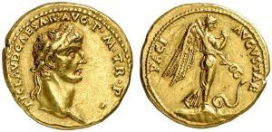 roman coin gold aureus Claudius, 41-54 AD 41-42 AD, Rome