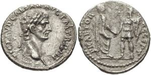 roman coin Claudius. AD 41-54 AR silver Denarius Rome mint