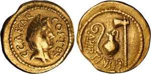 roman coin JULIUS CAESAR. gold Aureus Rome Mint, 46 BC