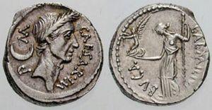 Roman coin silver Julius Caesar denarius, 44 BC, CAESAR IMP M Laureate head right, crescent moon behind, rev L AEMILIVS BVCA, Venus standing left