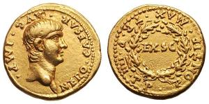roman coin gold Nero Aureus. 57-58 AD. NERO CAESAR AVG IMP, bare head right / PONTIF MAX TRP IIII COS around EXSC in wreath