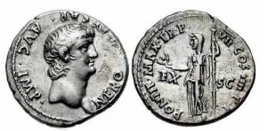roman coin silver Nero Denarius. 60-61 AD. NERO CAESAR AVG IMP, bare head right / PONTIF MAX TR P VII COS IIII EX-SC, Ceres standing left, holding corn ears & torch