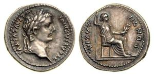 Silver Denarius of Emperor Tiberius, circa 14-37 AD. Obverse: TI CAESAR DIVI AVG F AVGVST, laureate head right. Reverse: PONTIF MAXIM, Livia, as Pax, seated right; plain legs to chair with double line below.