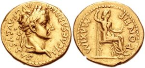 Gold aureus roman coin - The laureate head of Tiberius (left) surrounded with the inscription