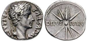Roman coin - Wreathed head of Augustus is on the left with CAESAR AVGVSTVS