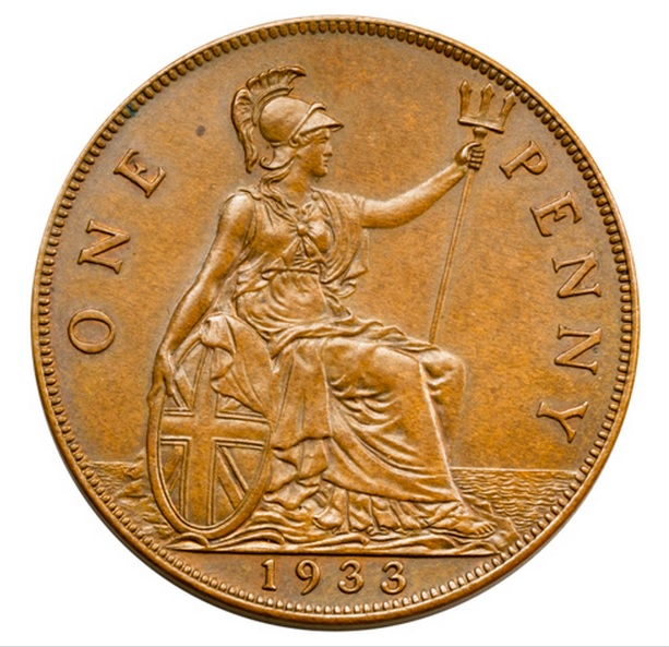 1922 Penny Old Great Britain Coin Circulated