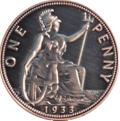 This 1933 facsimile penny is clearly not the genuine article - as can be seen by the many deliberate design flaws. It is not intended to deceive.