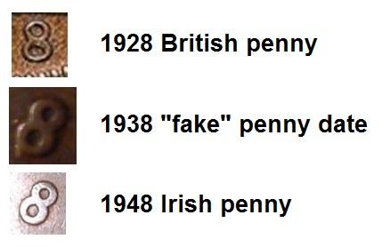 1930 Irish penny forgery - faked
