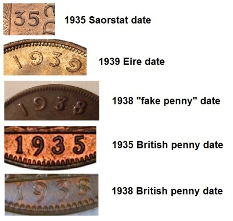 1938 date comparisons - what type of coin was the donor for the fake 1938 Irish penny?