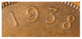 The genuine 1938 penny date format