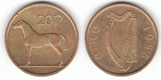Rare 1985 Irish 20p coin