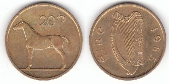 Rare 1985 Irish 20p coin