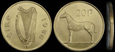 New Irish 20p coin, introduced in 1986