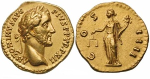 Antinonius Pius gold Aureus Obv: IMPTAELCAESHADRANTONINVS - Bare head right. Rev: AVGPIVSPMTRPCOSDESII - Pietas standing left, raising hand over altar