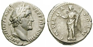Antoninus Pius silver Denarius 143-144 Rome. Laureate head right ANTONINVS AVG PIVS PP TR P COS III / IMPERATOR II Victoria standing left, holding wreath and palmbranch