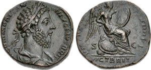 Commodus. AD 177-192. Æ Sestertius (29mm, 24.14 g, 6h). British victory issue. Rome mint. Struck AD 185. Laureate and draped bust right / VICT BRIT in exergue, Victory seated right on pile of arms, inscribing shield set on knee with long stylus. RIC III 452 var. (not draped); cf. MIR 18, 665-6/30 (not draped, VIC BRIT); Banti 487. Good VF, dark green and brown patina, a few light scratches on reverse in exergue. Extremely rare. During the reign of Commodus, a serious revolt erupted in Britain in AD 184, the causes of which are uncertain. The revolt was quickly put down, and a series of coins was struck to commemorate the event.