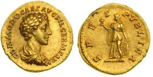 Commodus, as Caesar, gold Aureus. 175-176 AD. COMMODO CAES AVG FIL GERM SARM, bareheaded, draped & cuirassed bust right / SPES PVBLICA, Spes advancing left, holding flower & raising hem of skirt