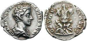 Commodus, as Caesar, silver Denarius. 175-176 AD. COMMODO CAES AVG FIL GERM SARM, draped bust right / DE SAR-MATIS, two captives, male and female, seated below trophy