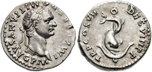 DOMITIAN. 81-96 AD. Silver Denarius (3.51 gm). Struck 81 AD. IMP CAES DOMITIANVS AVG P M, laureate head right / TR P COS VII DES VIII, Dolphin coiled around anchor